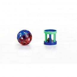 BZ kattenspeeltje bal en roller met bel 2 stuks