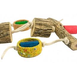 Birrdeeez papegaai speeltje hout en leer