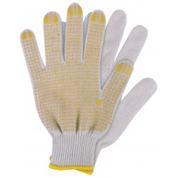 Werkhandschoenen katoen geel