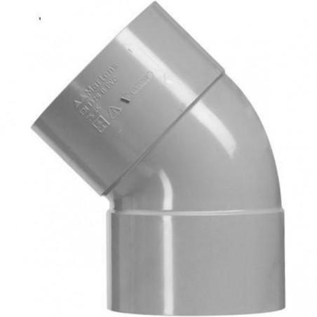PVC bocht 32mm 2xlm 45 graden grijs