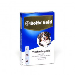 Honden vlooienmiddel gold 400 25 kg 2 pipetten.