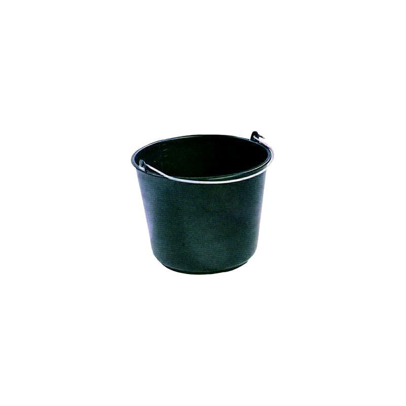Bouwemmer kunststof zwart 12L