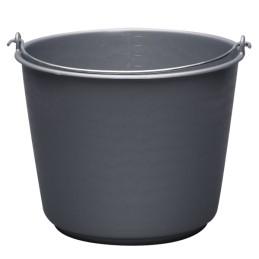 Bouwemmer kunststof grijs 12L