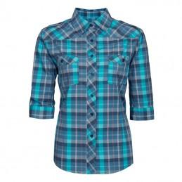 Dames werkoverhemd met korte mouw blauw