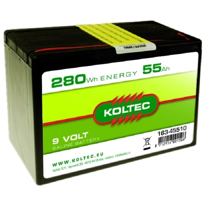 Batterij 9 Volt - 280 Wh 55 Ah zink-kool