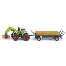 Claas tractor met balengrijper en aanhanger 1:50