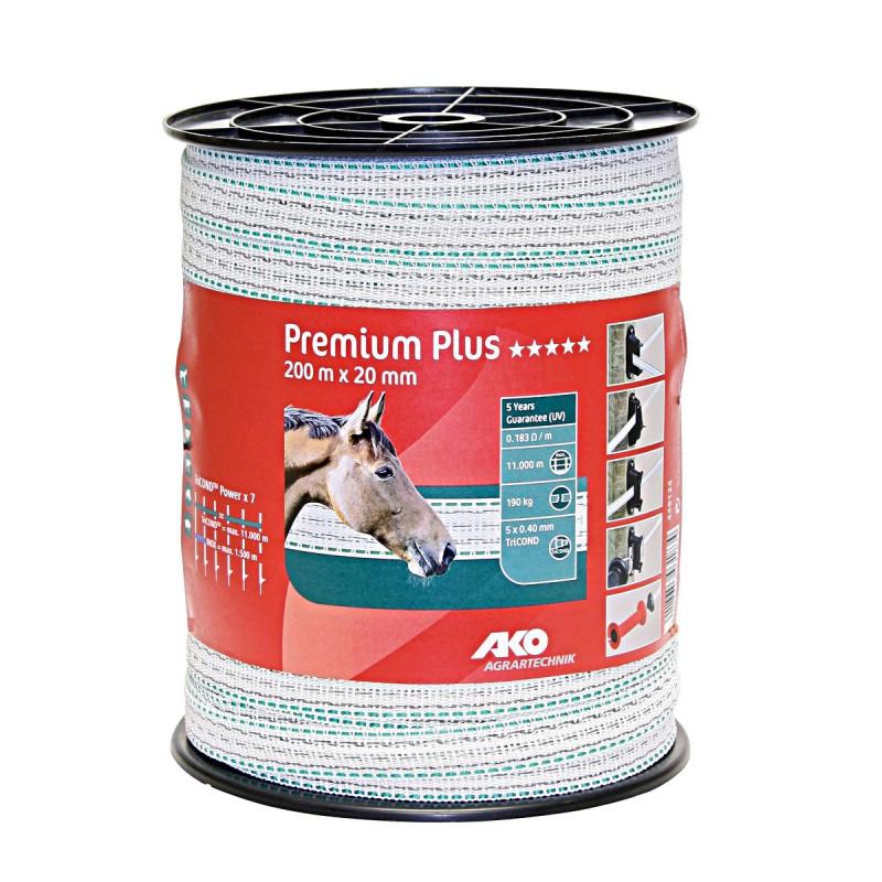 Premium Plus schriklint wit / groen 2cm 200m