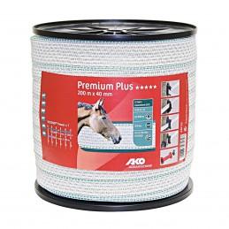 Premium Plus schriklint wit / groen 4cm 200m