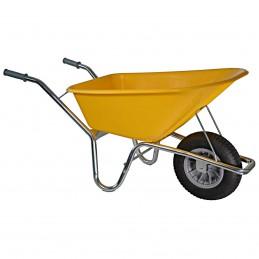 Bouwkruiwagen basic geel 100 liter