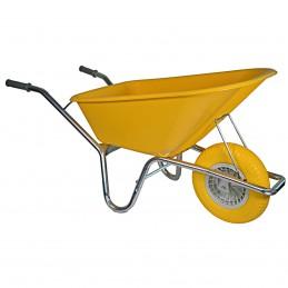 Bouwkruiwagen basic geel 100 liter anti-lek wiel