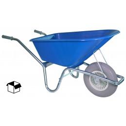 Bouwkruiwagen basic blauw 100 liter anti-lekwiel