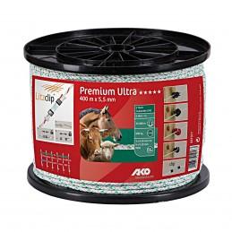 Ako Premium Ultra schrikkoord wit/groen 5.5mm 400m