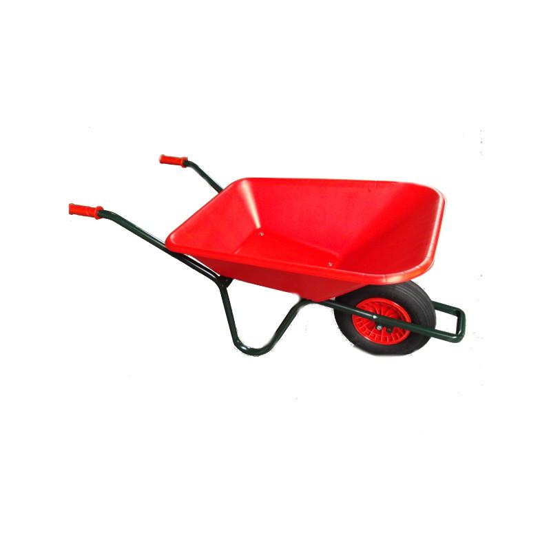 Tuinkruiwagen PP bak 90L gelakt onderstel rood