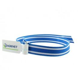 Koehalsriem blauw wit 130 cm met knelschep