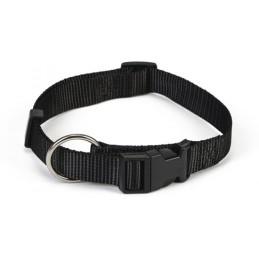 Honden halsband nylon zwart 25x 40-65 zwart