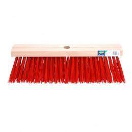 Bezem FSC kunstvezel rood 41 cm